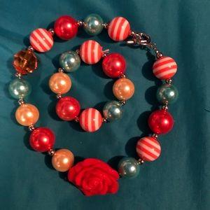 Chunky bubble Rose necklace and bracelet set